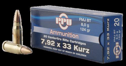 PPU Metric Rifle 7.9x33mm Kurz 124gr, Full Metal Jacket, 20rd Box title=